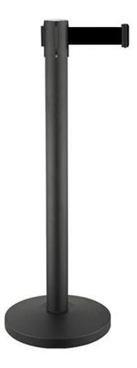 Κολωνάκι οριοθέτησης μαύρο (mat) ύψους 91cm με μαύρο ιμάντα 2m BBL-200
