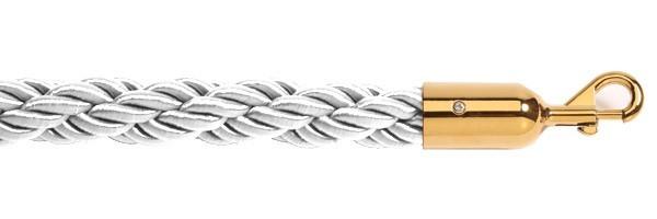 Σχοινί πλεγμένο nylon μήκους 150cm λευκού χρώματος με χρυσαφί γάντζο NWG-150