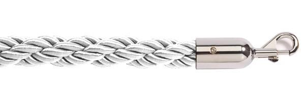 Σχοινί πλεγμένο nylon μήκους 150cm λευκού χρώματος με ασημί γάντζο NWS-150