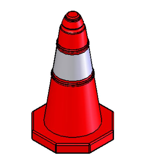 Πλαστικός κώνος σήμανσης ύψους 50cm EDH-PE-7