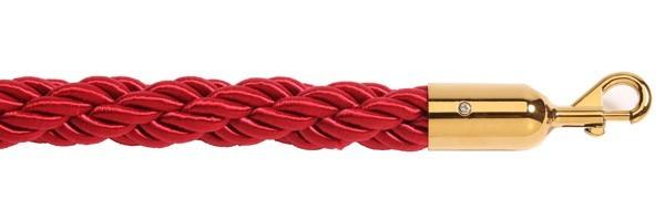 Σχοινί πλεγμένο nylon μήκους 150cm κόκκινου χρώματος με χρυσαφί γάντζο NRG-150