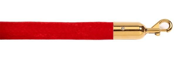 Κορδόνι βελούδινο velvet μήκους 150cm κόκκινου χρώματος με χρυσαφί γάντζο VRG-150
