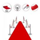 Σετ με 6 διαχωριστικά κολωνάκια ασημί με σφαίρα στην κορυφή, 4 κόκκινα βελούδινα σχοινιά 1.5m και 1 κόκκινο χαλί 3m