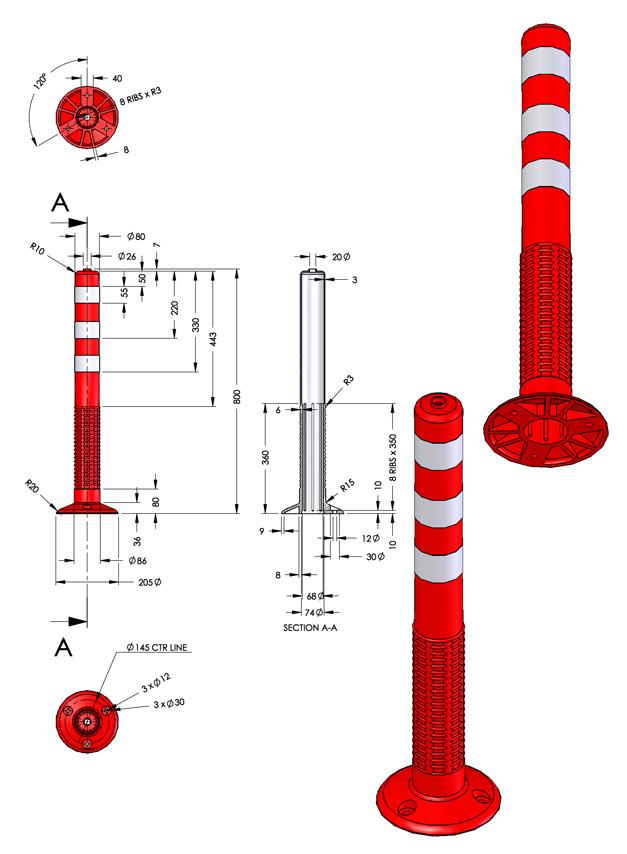 Εύκαμπτα πλαστικά κολωνάκια σήμανσης (οριοδείκτες))