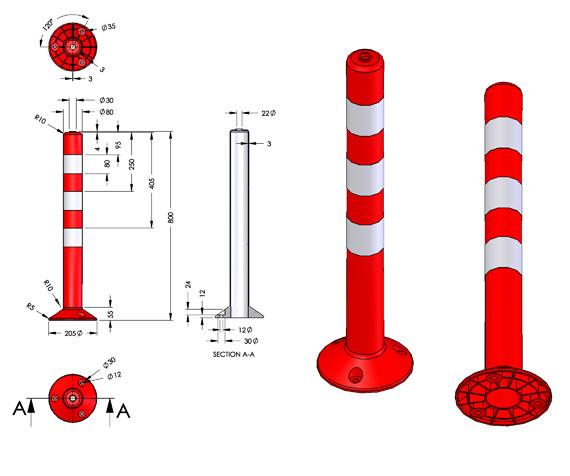 Πλαστικά εύκαμπτα κολωνάκια σήμανσης (οριοδείκτες))